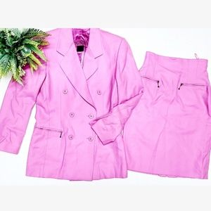 🎉Escada Barbie Pink Wool Lined Blazer Skirt Suit